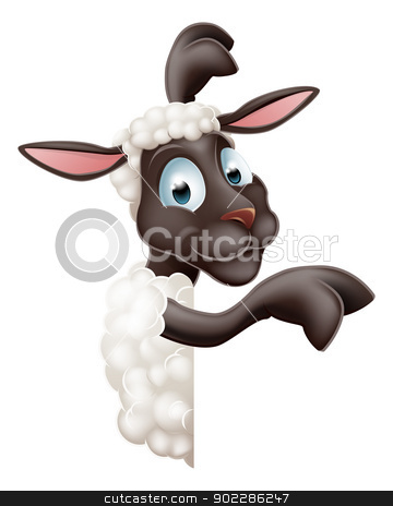 Sheep pointing round sign stock vector clipart, Illustration of a cute sheep or lamb cartoon character or mascot peeking round sign and pointing by Christos Georghiou