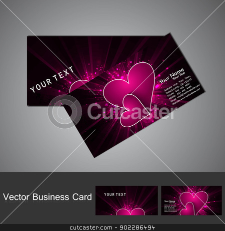 Fantastic Valentine's Day colorful heart business card set  stock vector clipart, Fantastic Valentine's Day colorful heart business card set  by bharat pandey