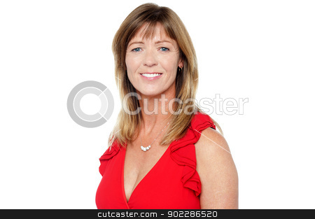 Attractive middle aged smiling woman stock photo, Studio shot of a pretty middle aged caucasian lady against white background. by Ishay Botbol