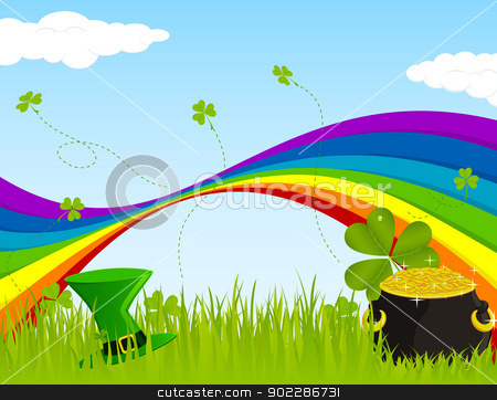 Seamless St. Patrick's Landscape stock vector clipart, Landscape design for St. Patrick's Day by wingedcats