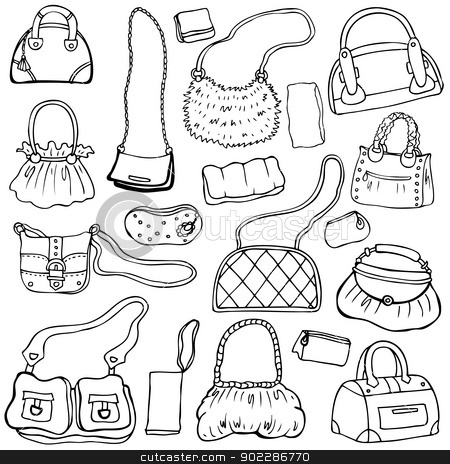 Women's handbags. Hand drawn Vector Set 1 stock photo, Collection design women's handbags. Hand drawn vector isolated. Set 1. by Katyau