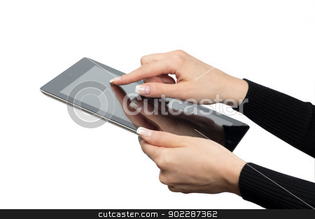tablet computer  stock photo, hands with tablet computer on white by Vitaliy Pakhnyushchyy