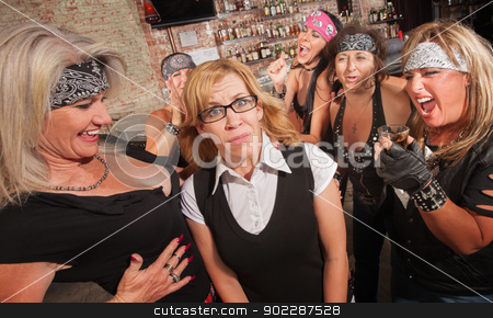 Female Gang Laughs at Nerd stock photo, Frightened blond nerd laughed at by gang of women by Scott Griessel