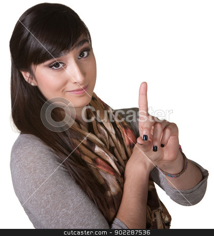 Woman Pointing Up stock photo, Young Asian woman pointing up with index finger by Scott Griessel