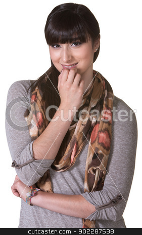 Curious Young Woman stock photo, Curious young woman with fingers on chin over isolated background by Scott Griessel