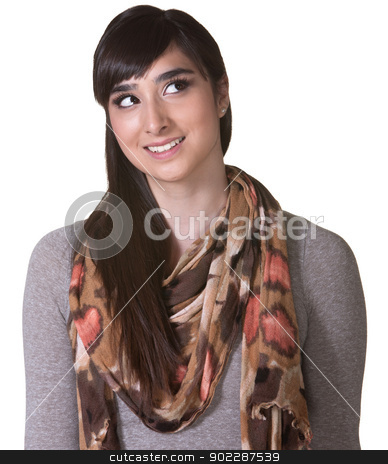 Young Hispanic Woman Looking Up stock photo, Cute Latino woman over white background looking up by Scott Griessel