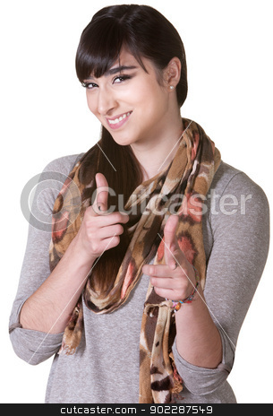 Cute Woman Pointing Fingers stock photo, Cute Latina aiming ahead with index fingers by Scott Griessel