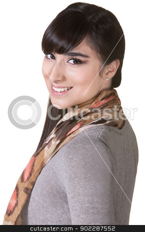 Happy Mexican Woman stock photo, Happy young Mexican woman over isolated background by Scott Griessel