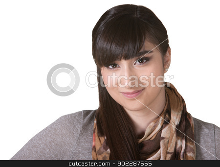 Grinning Native American Female stock photo, Grinning Hispanic female with scarf on isolated background by Scott Griessel