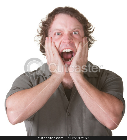 European Male Screaming stock photo, Man over white background overreacting with hands on face by Scott Griessel