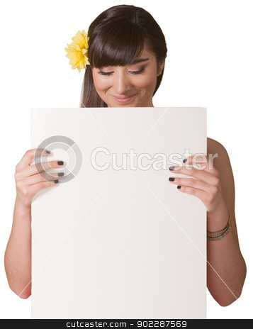 Woman Holding Blank Board stock photo, Woman with flower in hair holding blank board by Scott Griessel
