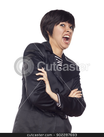 Expressive Mixed Race Woman on White stock photo, Attractvie Expressive Mixed Race Woman Isolated on a White Background. by Andy Dean