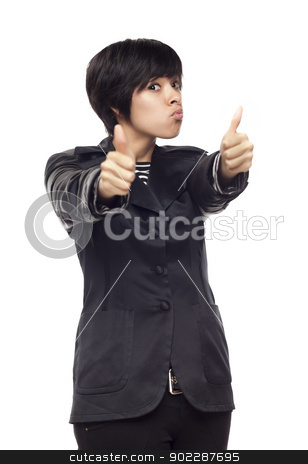 Happy Young Mixed Race Woman With Thumbs Up on White stock photo, Happy Young Mixed Race Woman With Two Thumbs Up Isolated on a White Background. by Andy Dean