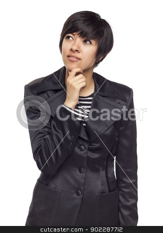 Thinking Mixed Race Young Adult Looking Up and Over stock photo, Pretty Thinking Mixed Race Young Adult Woman Looking Up and Over Isolated on a White Background. by Andy Dean