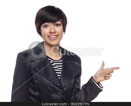 Young Mixed Race Woman Pointing to Side on White stock photo, Attractive Young Mixed Race Woman Pointing to the Side Isolated on a White Background. by Andy Dean