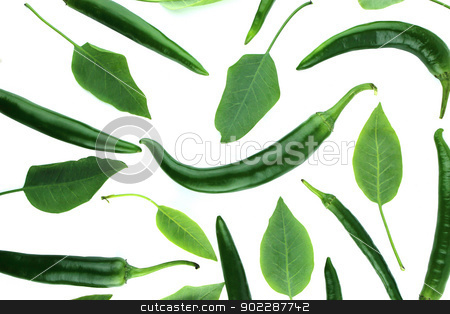 Green hot chili  stock photo, Green hot chili pepper with green leaves on a white background  by Designsstock