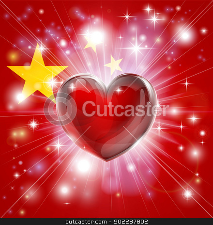Love China flag heart background stock vector clipart, Flag of China patriotic background with pyrotechnic or light burst and love heart in the centre by Christos Georghiou