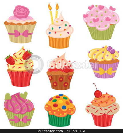 Cupcakes Set stock vector clipart, Shiny happy set of cupcakes. by wingedcats