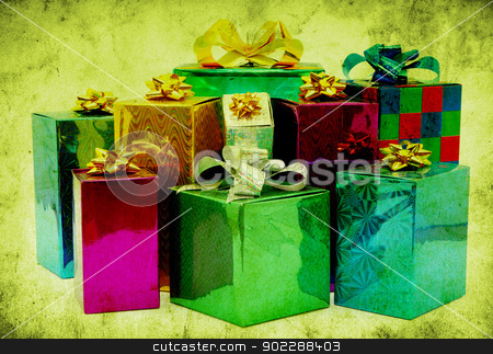 gifts stock photo, grunge background with space for text or image by Vitaliy Pakhnyushchyy