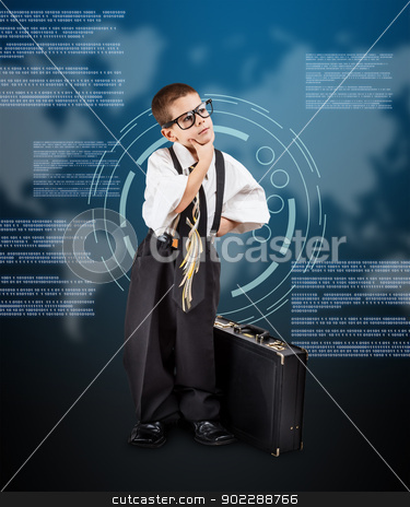 Little business boy thinking stock photo, Little business boy thinking on digital background by Grafvision