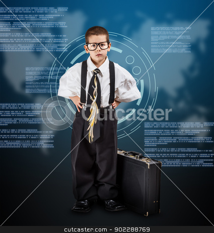 Business boy stock photo, Little business boy on digital background by Grafvision
