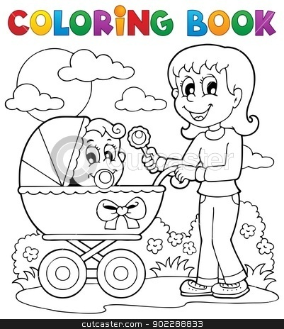 Coloring book baby theme image 2 stock vector clipart, Coloring book baby theme image 2 - vector illustration. by Klara Viskova