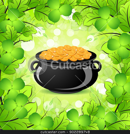 St. Patricks Day Cauldron with Gold Coins stock vector clipart, St. Patricks Day Cauldron with Gold Coins in Green leaves and Shamrocks by Vadym Nechyporenko