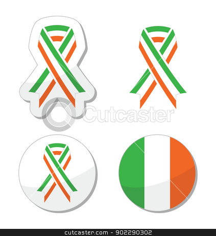 Irish ribbon flag labels - St Patricks Day celebration stock vector clipart, The flag of Ireland on ribbon set isolated on white by Agnieszka Bernacka