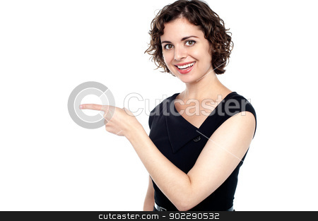 Cute female showing the direction stock photo, Half length portrait of a pretty woman directing towards the path. by Ishay Botbol