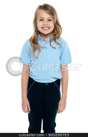 Cute young caucasian child posing for a portrait stock photo, Isolated charming young girl posing with confidence, smiling warmly. by Ishay Botbol
