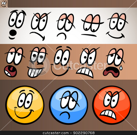 emoticon elements set cartoon illustration stock vector clipart, Cartoon Illustration of Funny Emoticon or Emotions and Expressions like Sad, Happy, Angry or Skeptic by Igor Zakowski