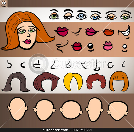 woman face elements set cartoon illustration stock vector clipart, Cartoon Illustration of Funny Woman Face Elements such Eyes, Lips, Noses, Heads and Hair for Animation or Application by Igor Zakowski