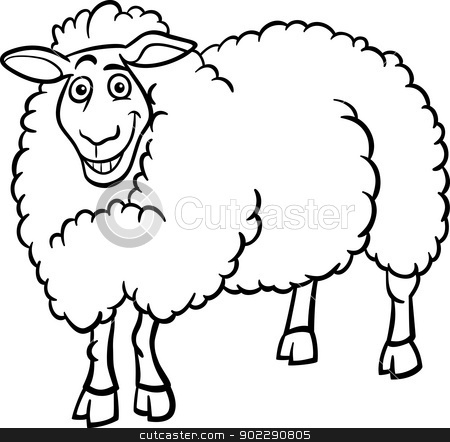 farm sheep cartoon for coloring book stock vector clipart, Black and ...