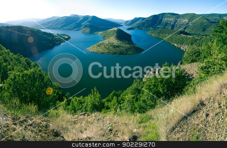 Kardjali lake Bulgaria stock photo, high view of Kardjali lake Bulgaria in summer by Desislava Dimitrova