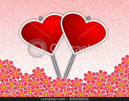 Heart Placards amidst Flowers stock photo, A valentine card with two heart placards places amidst flowers  by Sidharth Thakur