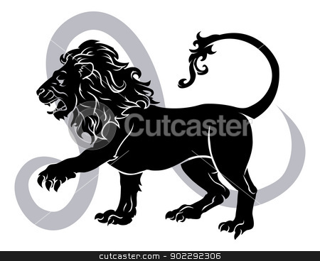 Leo zodiac horoscope astrology sign stock vector clipart, Illustration of Leo the lion zodiac horoscope astrology sign by Christos Georghiou