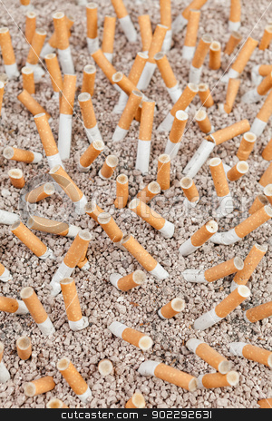 Cigarettes chaos from above stock photo, Ashtray full of smoked cigarettes in the sand from above by Dario Rota