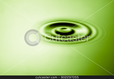 Pool of water with ripple stock photo, Pool of water with ripple in green tint by Wavebreak Media