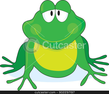 Print stock vector clipart, A simple outline of a smiling frog with large eyes, painted green and yellow. by Maria Bell