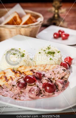 Grilled chicken breast  stock photo, Grilled chicken breast with garnish served on restaurant by Grafvision