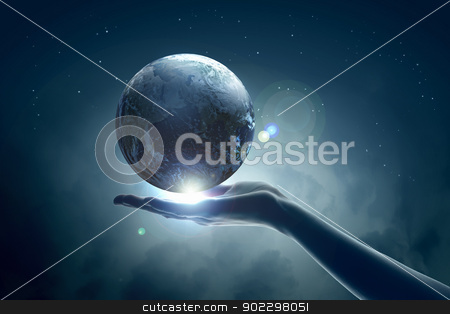 Image of earth planet on hand stock photo, Image of hand holding earth planet against illustration background by Sergey Nivens
