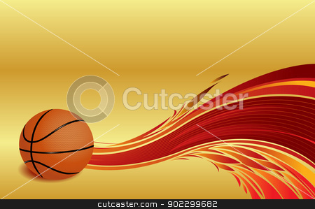 Basketball stock photo, Basketball ball with flames at a golden background by ANTONIOS KARVELAS