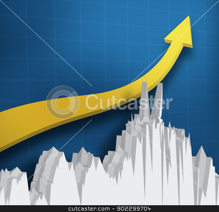 Digital yellow arrow with a graph stock photo, Digital yellow arrow with a graph against a blue background by Wavebreak Media