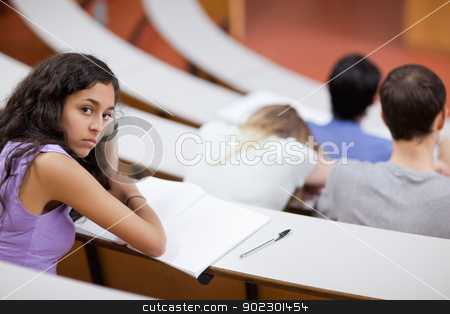 Bored student during a lecture stock photo, Bored student during a lecture looking at the camera by Wavebreak Media