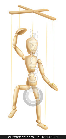 Wooden puppet stock vector clipart, An illustration of a wooden marionette or puppet figure or man on strings by Christos Georghiou