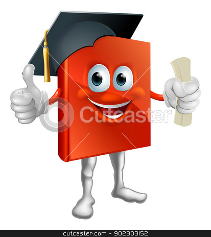 Graduation book mascot stock vector clipart, Cartoon graduation book education mascot giving thumbs up, wearing mortarboard hat and holding a diploma. by Christos Georghiou