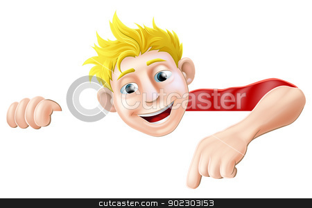 Cartoon Man Pointing stock vector clipart, An illustration of a cool friendly young man character above a sign or banner pointing at it by Christos Georghiou
