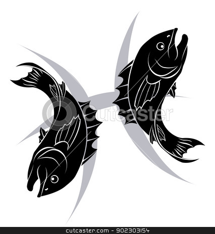 Pisces zodiac horoscope astrology sign stock vector clipart, Illustration of Pisces the fish zodiac horoscope astrology sign by Christos Georghiou