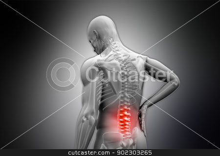 Digital grey human rubbing highlighted red back pain stock photo, Digital grey human rubbing highlighted red back pain on black vignette background by Wavebreak Media
