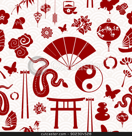 Chinese New Year of the Snake pattern stock vector clipart, Chinese New Year of the Snake icons seamless pattern. Vector illustration layered for easy manipulation and custom coloring. by Cienpies Design